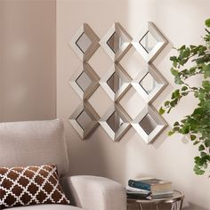 Wall Decor Mirror Art Home Sculpture Abstract Hanging Mirror Modern Large Wall Mirrors Set, Metal Mirror, Mirror Set, Mirror Wall Decorations, Mirror Room, Metal Frames, Wall Sconces, Metal Walls, Metal Wall Art