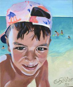 """EvaSchlitzer """"Jonas on the beach"""", 60 x 50, Acryl auf Leinen, 2017, Portrait, Auftragsmalerei, Junge, Blumen, Strand, zeitgenössische Malerei, Gegenständliche Kunst Muse, Collage, My Works, Strand, Princess Zelda, Portrait, Beach, Fictional Characters, Linen Fabric"""