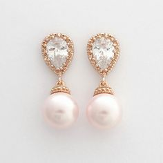 ROSE GOLD Wedding Earrings Pink Pearl Bridal Earrings Cubic Zirconia Posts with Swarovski Rosaline Pink Pearls Wedding Jewelry