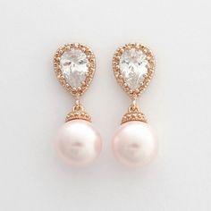 Boucles d'oreilles en or ROSE mariage rose perle par poetryjewelry
