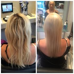 Full head of highlights with a tint in between, with a smooth blowdry to finish
