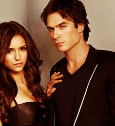 Nina Dobrev and Ian Somerhalder as Elena and Damon