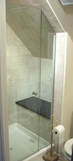 Great idea for an attic bath under the eaves. NJ Glass Company | NJ Aluminum | NJ Glass Factory