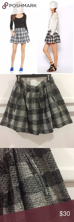 Free People Holly Go Lightly Plaid Skirt A flirty skirt cut from tactile bouclé knit and subtle patterned in muted plait. Welt hip pockets. Lined. Condition: like new. Free People Skirts Mini