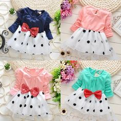 Cute Baby Toddler Girls Princess Party Long Sleeve Bowknot Dot Tulle Dress 6M 5Y | eBay