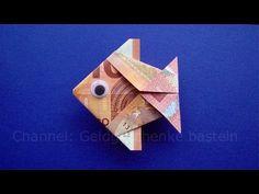 Geldschein falten Fisch: Tiere basteln für Geldgeschenke - Geld falten zur Hochzeit - Origami - YouTube