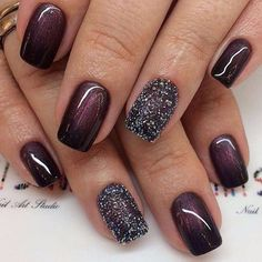 Glitter and Wine colored nail art design ideas #nail #naildesigns