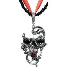 Skull-shaped flourish pendant by Alchemy Gothic, with bead and ribbon necklace.