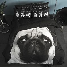 home bed bedding set cute dog Bed Linens kids bedclothes Printed Duvet Cover +flat sheet+pillowcase black dog Best Bedding Sets, Bedding Sets Online, King Bedding Sets, Comforter, King Size Duvet Covers, Duvet Cover Sets, Cute Dog Beds, Bedroom Sets For Sale, Carlin