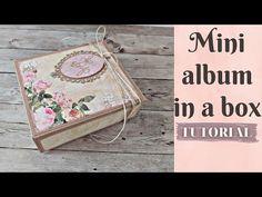 Μίνι άλμπουμ σε κουτί   Tutorial   Μαρίνα Μανιώτη - YouTube Mini Photo, Mini Albums, Decorative Boxes, Crafty, Fun, Scrapbooking, Tutorials, Crochet, Youtube