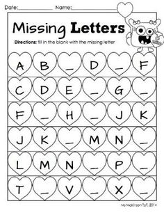 "February Printable Packet - Preschool or Kindergarten Literacy and Math. Missing letter ""cut and paste"" alphabet worksheet for Valentine's Day. Kindergarten Readiness, Preschool Kindergarten, Preschool Worksheets, Preschool Learning, Learning Activities, Printable Worksheets, Space Preschool, Cut And Paste Worksheets, Preschool Writing"