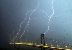 lightning strikes bridge