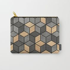 Concrete and wood cubes Carry-All Pouch by zoltanratko | Society6