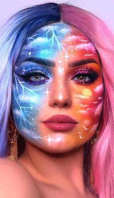 Cute Makeup Looks, Makeup Eye Looks, Eye Makeup Art, Halloween Makeup Looks, Crazy Makeup, Cool Makeup, Fire Makeup, 80s Makeup, Makeup Brush