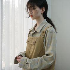 이런 패턴셔츠 넘 이쁜것 ❣️ 빌라쥬 빈티지 체크셔츠 큐티 오버롤 멜빵 ops