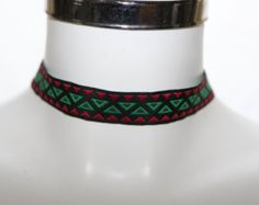 Check out Black Green Red Ribbon Choker Aztec Rockabilly gothic victorian style  20mm plain choker on heavenlycow