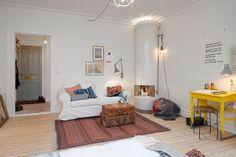 bright, white living room