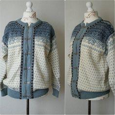 Vintage Norwegian cardigan Norwegian sweater Light blue White