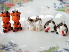 Zsiráf,hörcsög,nyuszi-fülbevalók