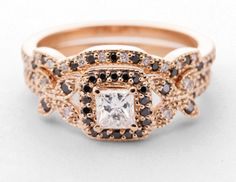 Butterfly Crown Set || Princess Cut Diamond Wedding Set With Black Diamond In 18k Rose Gold