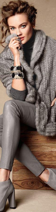 Adrienne Landau Mink Fur Knit Wrap w/Pockets: women fashion outfit clothing style apparel @roressclothes closet ideas