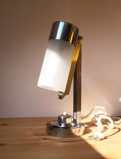 Art Deco Bauhaus french modernist table lamp by Boris Lacroix for Mitis. France, 1930's.