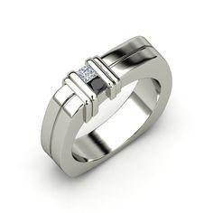 Men's Sterling Silver Ring with Black Diamond & Diamond