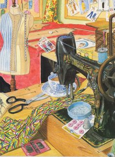 "This is a great picture, I have it in my sewing room, it is titled ""The sewing room"" from the original watercolour by Christine May. Copyright The Lynn Tait Gallery."