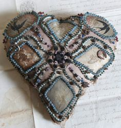 Stunning silk hand beaded WW1 heart shape Sweetheart Cushion  by FadedVintageRose