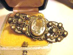 Antique Edwardian Filigree paste rhinestone bar brooch pin by MysteryMisterAntique on Etsy