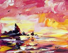 """""""Red sunset at the beach"""" - Original Fine Art for Sale - © Mikko Tyllinen Red Sunset, Acrylic Colors, Fine Art Gallery, Art For Sale, Projects To Try, Watercolor, Acrylic Paintings, Beach, Pen And Wash"""
