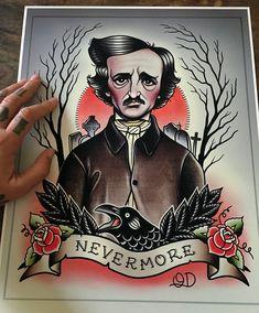 Edgar Allan Poe Flash Art Print by ParlorTattooPrints on Etsy Edgar Allan Poe, Edgar Allen Poe Tattoo, Flash Art Tattoos, Body Art Tattoos, Sleeve Tattoos, Tattoo Girls, Girl Tattoos, Sailor Tattoos, Tatoos