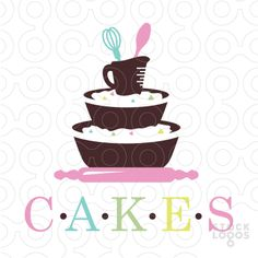 Sweet, creative logo design that contains stacked baking supplies that resemble a three tier cake. This unique logo design will set your cake shop or bakery apart from your competition! Cupcake Logo, Cupcake Shops, Cupcake Clipart, Bakery Names, Dessert Logo, Cake Branding, Cupcake Factory, Cake Business, Business Logos