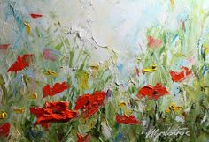 Original Oil Painting Poppy Field II Modern by mgotovac on Etsy, $129.00