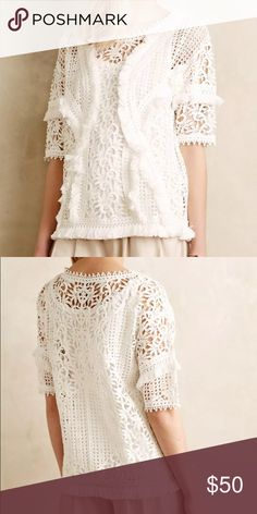 ANTHROPOLOGIE YOANA BARASCHI Fringed Lace Top XS New, never worn!  ANTHROPOLOGIE - YOANA BARASCHI - Fringed Lace Top - size XS (White)  Fringy cotton lace. Pullover styling. Imported. Style # 4110077000099. Retail Price: $148. Anthropologie Tops Blouses