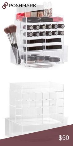 MAKEUP ORGANIZER This Spinning Mini Beauty Box is small but mighty! It has room for compacts, brushes, lipsticks, foundations, nail polish and more. It spins 360 degrees for easy access to products.  BRAND NEW NEVER USED Makeup Brushes & Tools