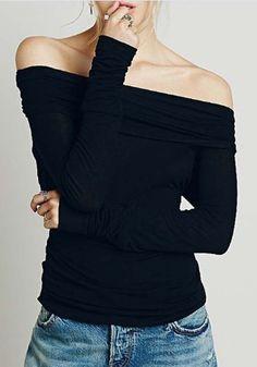 Black Plain Bandeau Long Sleeve Sexy Polyester T-Shirt
