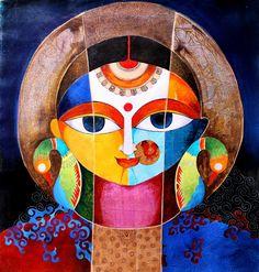 Durga Painting, Saree Painting, Fabric Painting, Indian Art Paintings, Modern Art Paintings, Bengali Art, Art Painting Gallery, Art Diary, Indian Folk Art