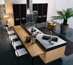 FB # inspiraçao cozinha # Minimalistic-modern-luxury-kitchen-island-design-with-wooden-contemporary-furniture-bar-and-chairs Modern Kitchen Plans, Modern Kitchen Design, Interior Design Kitchen, Modern Design, Farmhouse Interior, Farmhouse Small, Country Interior, Interior Modern, Minimalist Interior
