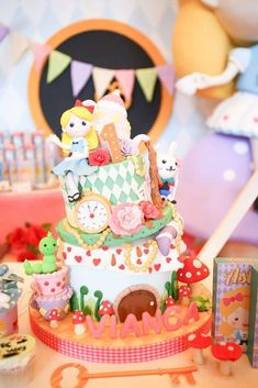 Wow! Love this cake at an Alice in Wonderland birthday party! See more party ideas at CatchMyParty.com!