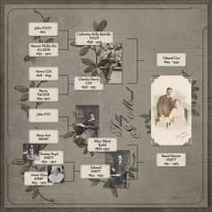 My maternal grandparents family tree. This layout was done with my Build a Family Tree Combo @ My Memories.com