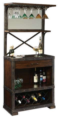 Industrial Liquor Cabinet, Reclaimed wood Bar Cart. Wine bottle ...