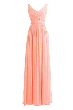 7ffd748bf Dressyonly Women's Elegant V Neck Chiffon Prom Dresses Long at Amazon  Women's Clothing store: Pink
