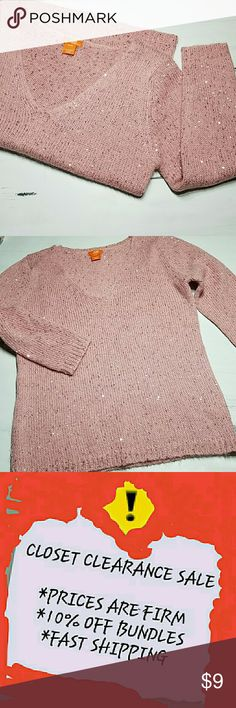 Beautiful Pink Crochet Sequin Sweater Perfect condition!  * 1st & 2nd photo represent true color *  * 10% OFF BUNDLES! * FAST SHIPPING! Joe Fresh Sweaters V-Necks