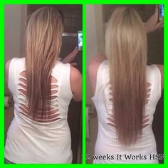 Check out these fabulous results from Stormi after she used It Works Hair Skin Nails for just 2 weeks!! Here's what she had to say:  I'm so blown away right now! I've always had long thick hair and the last time we colored it... Everyone sees that I change my color ALL the time- neons, blonde and dark... Its just gotten to the point where I've OVER PROCESSED my hair! And the last time trying to get it back to blonde my hair said NO MORE and started breaking.... I'm a believer now when I did…