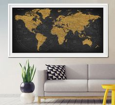 World Map Canvas Wall Painting Home Decor Vintage Large Canvas Print ...