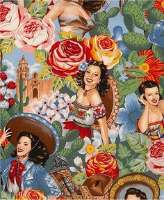 Cool vintage Mexican themed fabric.