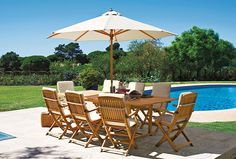 Premium garden set made from sustainable teak that can be left outside all year, available at #Argos.
