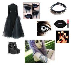 """""""fancy goth halloween outfit"""" by weirdo-321 ❤ liked on Polyvore featuring WithChic, Christian Siriano and Lime Crime"""