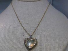 "Vintage 1/20th 10kt Gold Filled Heart Locket Necklace, 16"" Chain, 1940-1950's #FOSS #locketnecklace"